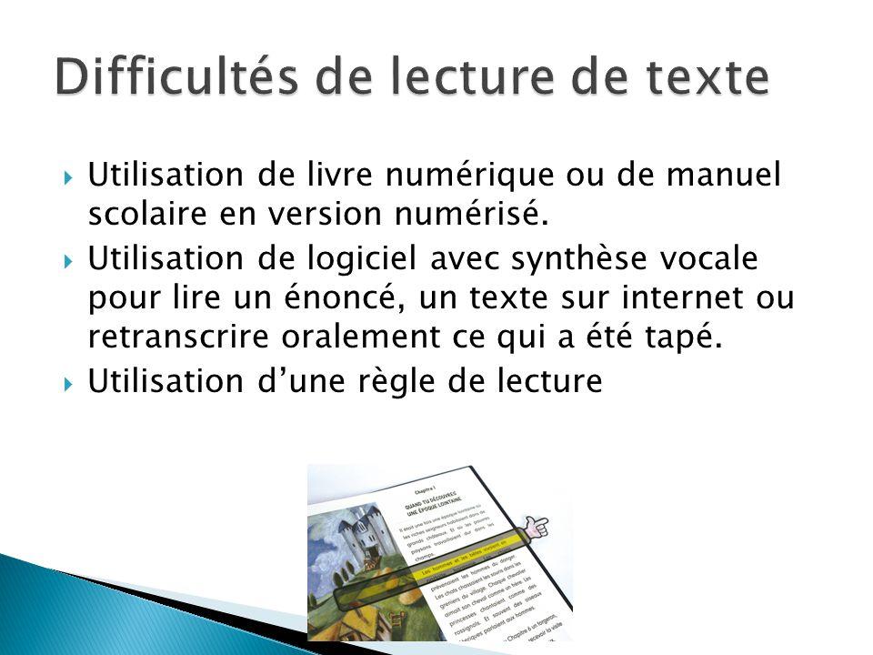  Utilisation de livre numérique ou de manuel scolaire en version numérisé.  Utilisation de logiciel avec synthèse vocale pour lire un énoncé, un tex