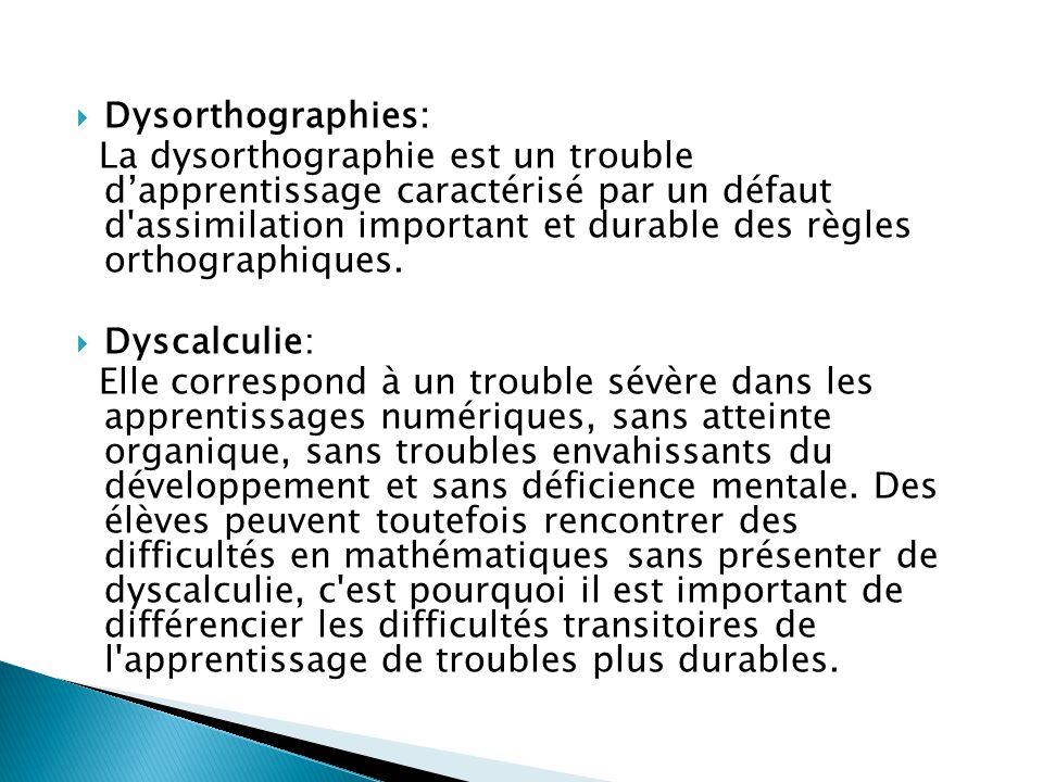  Dysorthographies: La dysorthographie est un trouble d'apprentissage caractérisé par un défaut d'assimilation important et durable des règles orthogr