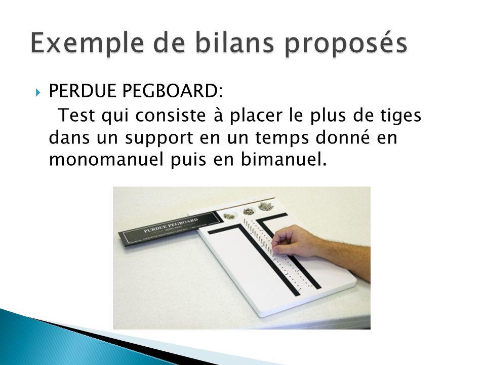  PERDUE PEGBOARD: Test qui consiste à placer le plus de tiges dans un support en un temps donné en monomanuel puis en bimanuel.