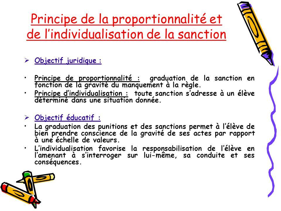 Principe de la proportionnalité et de l'individualisation de la sanction  Objectif juridique : Principe de proportionnalité : graduation de la sancti