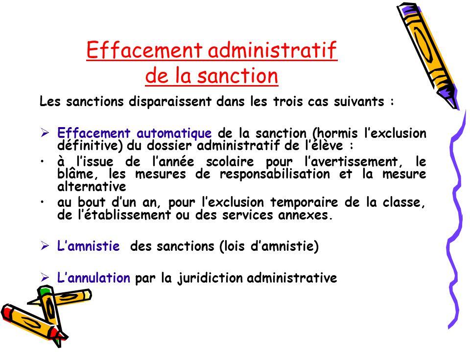 Effacement administratif de la sanction Les sanctions disparaissent dans les trois cas suivants :  Effacement automatique de la sanction (hormis l'ex