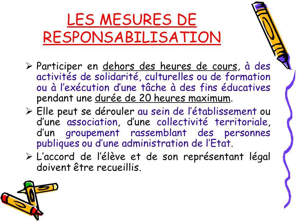 LES MESURES DE RESPONSABILISATION  Participer en dehors des heures de cours, à des activités de solidarité, culturelles ou de formation ou à l'exécut
