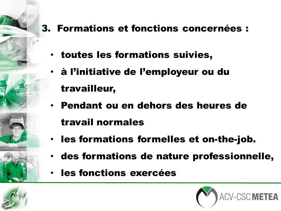 3. Formations et fonctions concernées : toutes les formations suivies, à l'initiative de l'employeur ou du travailleur, Pendant ou en dehors des heure