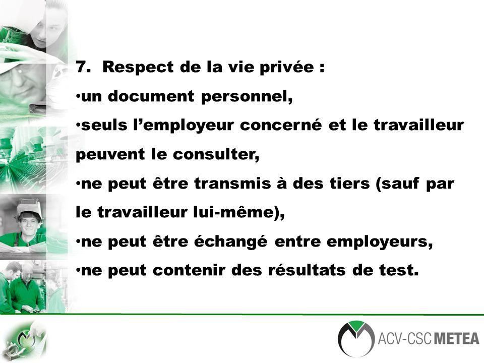 7. Respect de la vie privée : un document personnel, seuls l'employeur concerné et le travailleur peuvent le consulter, ne peut être transmis à des ti