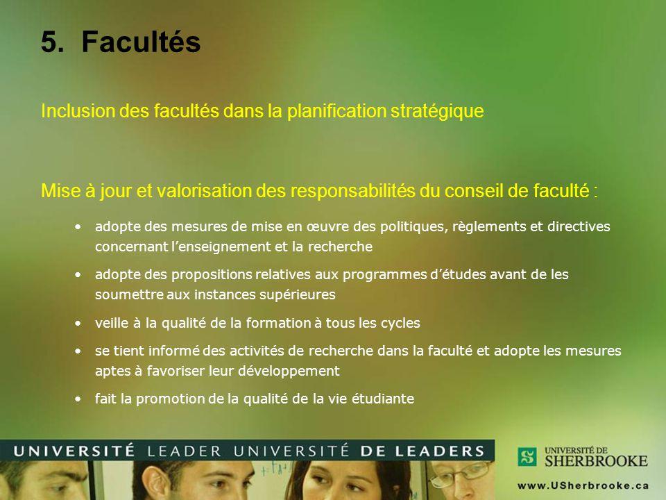 5. Facultés Inclusion des facultés dans la planification stratégique Mise à jour et valorisation des responsabilités du conseil de faculté : adopte de