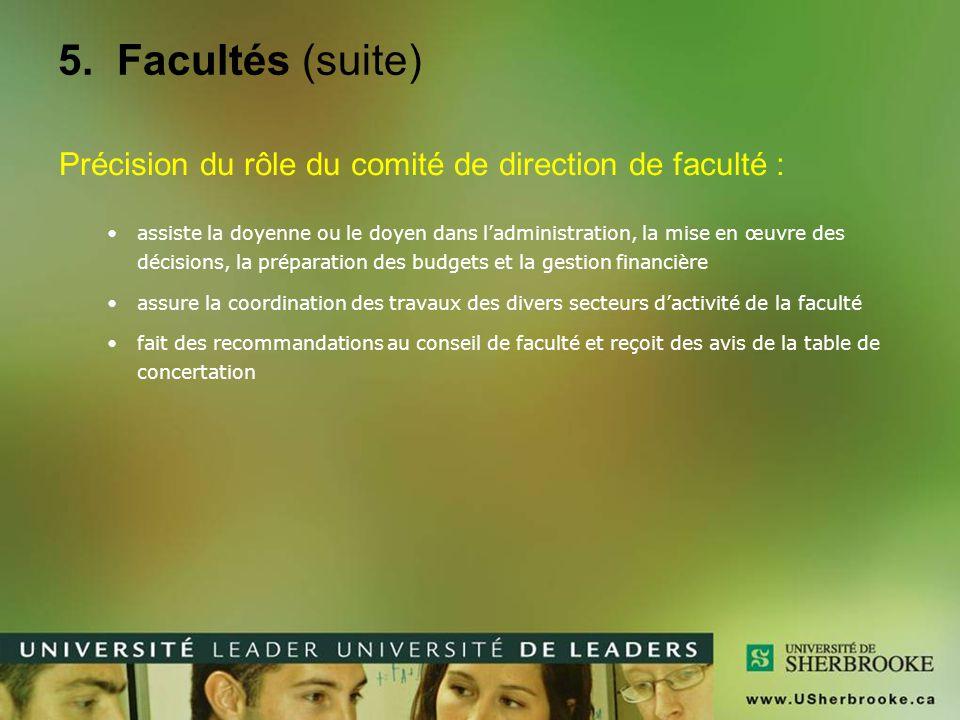 5. Facultés (suite) Précision du rôle du comité de direction de faculté : assiste la doyenne ou le doyen dans l'administration, la mise en œuvre des d