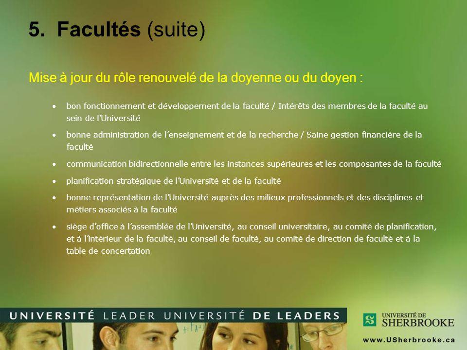 5. Facultés (suite) Mise à jour du rôle renouvelé de la doyenne ou du doyen : bon fonctionnement et développement de la faculté / Intérêts des membres