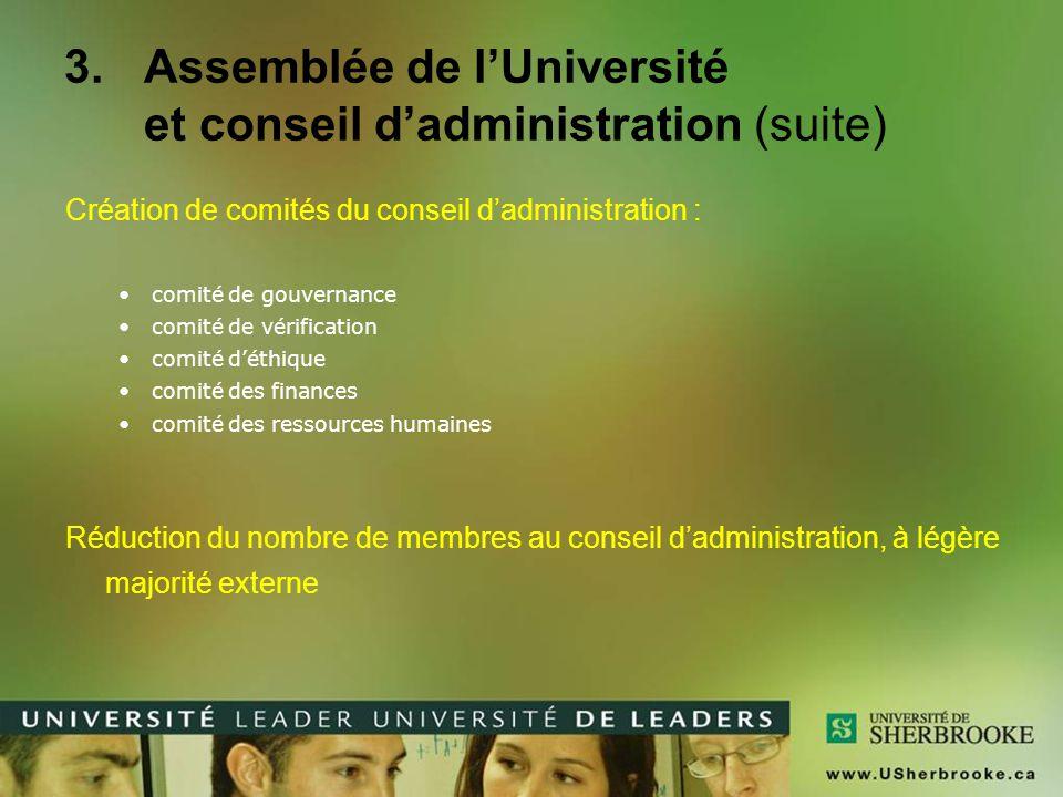 Conseil d'administration Membres externesNombreParticularitésExpertises Diplômées / Diplômés1(1) diplômée ou diplômé UdeS (1) médias ou communications (1) finance ou comptabilité (1) gestion de la recherche ou propriété Intellectuelle (1) ressources humaines (1) éthique (1) administratrice ou administrateur Fondation de l'UdeS1 Secteur de l'éducation 2(1) autre université Secteur de la santé1 Socioéconomique0 Ministre1 Autres5 TOTAL11