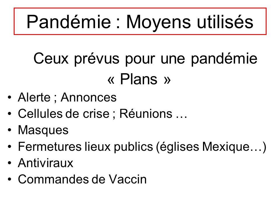 Pandémie : Moyens utilisés Ceux prévus pour une pandémie « Plans » Alerte ; Annonces Cellules de crise ; Réunions … Masques Fermetures lieux publics (