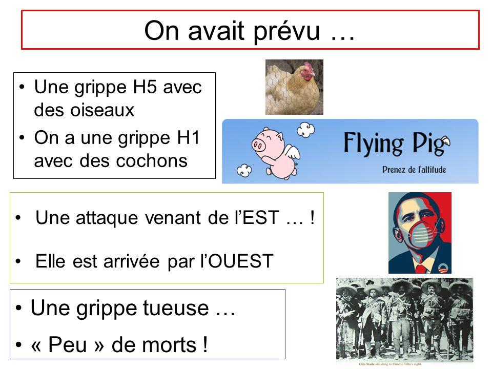 On avait prévu … Une grippe H5 avec des oiseaux On a une grippe H1 avec des cochons Une attaque venant de l'EST … ! Elle est arrivée par l'OUEST Une g