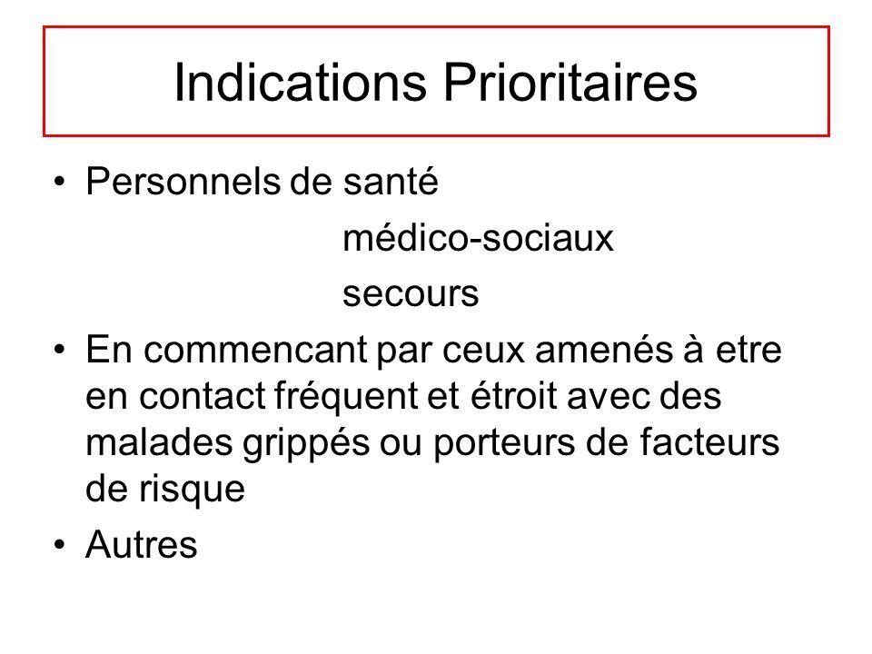 Indications Prioritaires Personnels de santé médico-sociaux secours En commencant par ceux amenés à etre en contact fréquent et étroit avec des malade