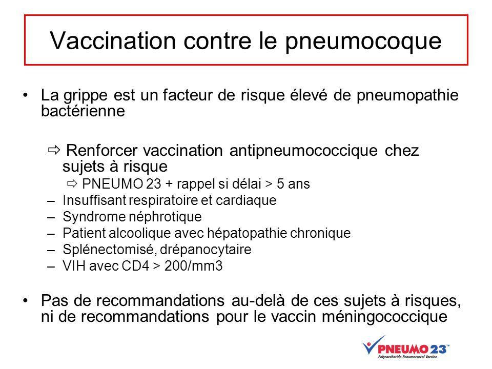 Vaccination contre le pneumocoque La grippe est un facteur de risque élevé de pneumopathie bactérienne  Renforcer vaccination antipneumococcique chez