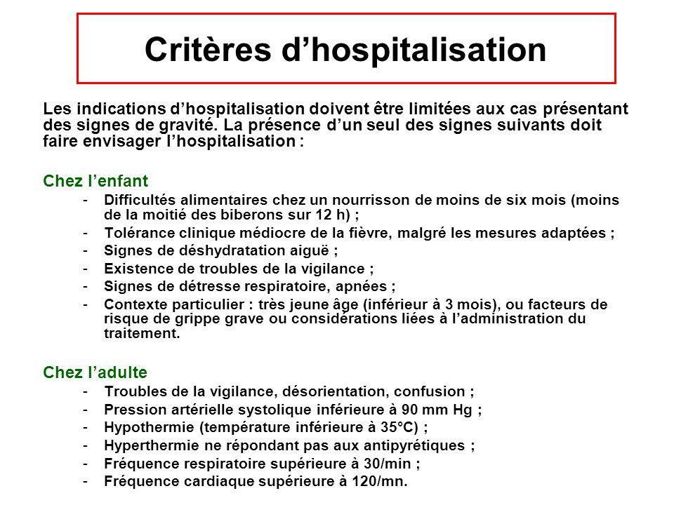 Critères d'hospitalisation Les indications d'hospitalisation doivent être limitées aux cas présentant des signes de gravité. La présence d'un seul des