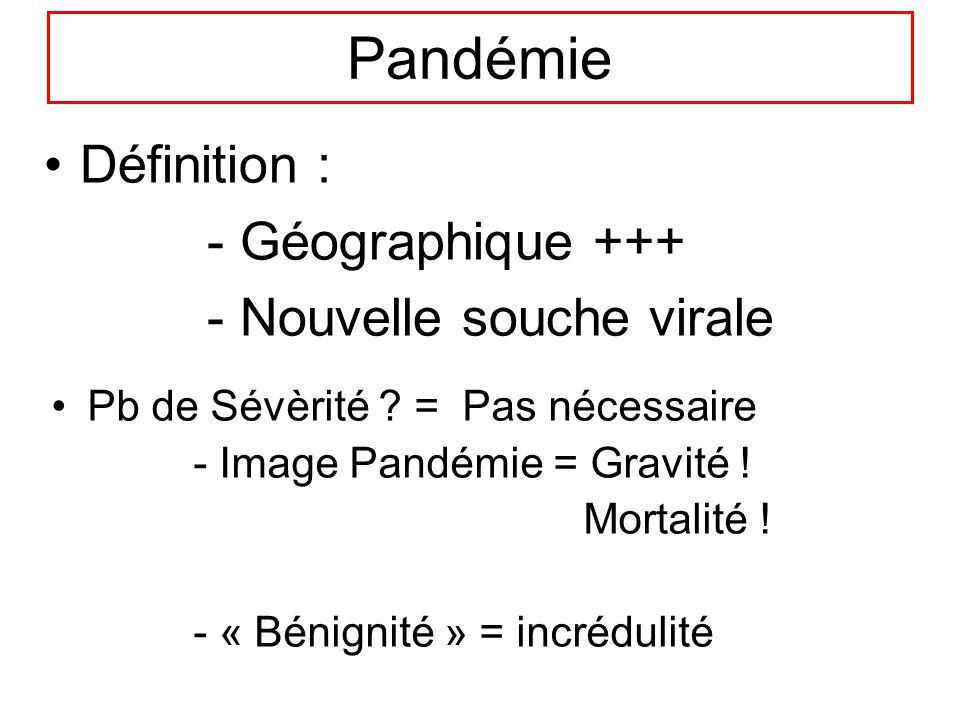 Pandémie Définition : - Géographique +++ - Nouvelle souche virale Pb de Sévèrité ? = Pas nécessaire - Image Pandémie = Gravité ! Mortalité ! - « Bénig