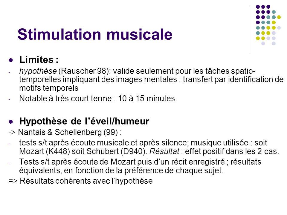 Stimulation musicale Limites : - hypothèse (Rauscher 98): valide seulement pour les tâches spatio- temporelles impliquant des images mentales : transf