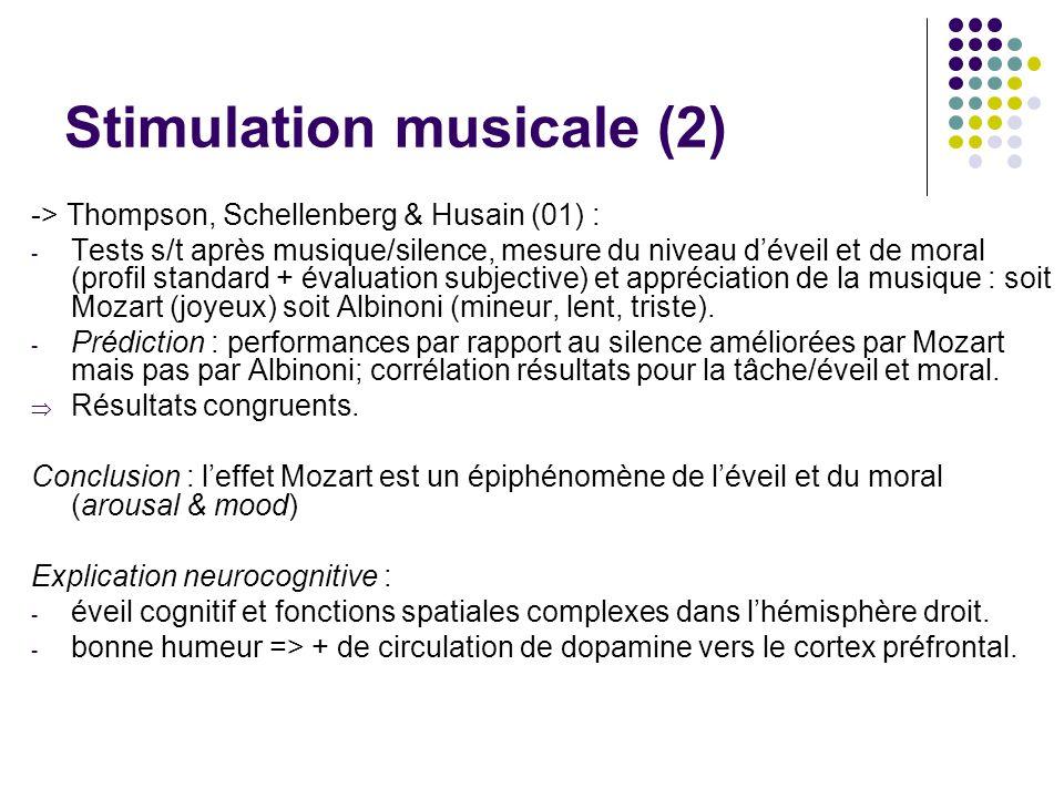 Stimulation musicale (2) -> Thompson, Schellenberg & Husain (01) : - Tests s/t après musique/silence, mesure du niveau d'éveil et de moral (profil sta