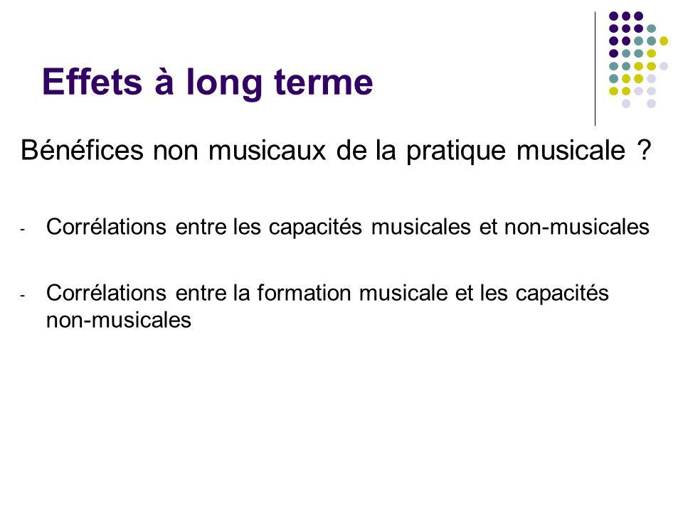 Effets à long terme Bénéfices non musicaux de la pratique musicale ? - Corrélations entre les capacités musicales et non-musicales - Corrélations entr