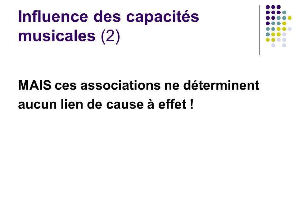 Influence des capacités musicales (2) MAIS ces associations ne déterminent aucun lien de cause à effet !