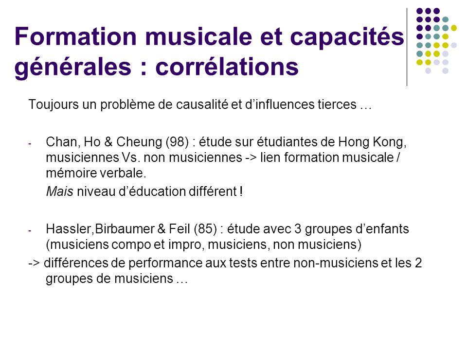 Formation musicale et capacités générales : corrélations Toujours un problème de causalité et d'influences tierces … - Chan, Ho & Cheung (98) : étude