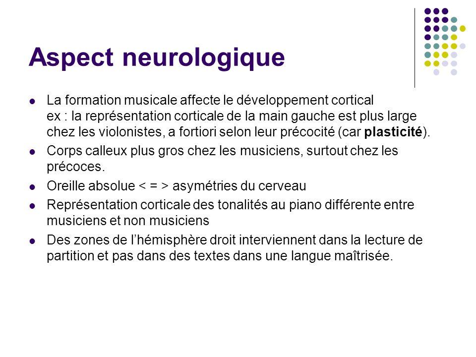Aspect neurologique La formation musicale affecte le développement cortical ex : la représentation corticale de la main gauche est plus large chez les