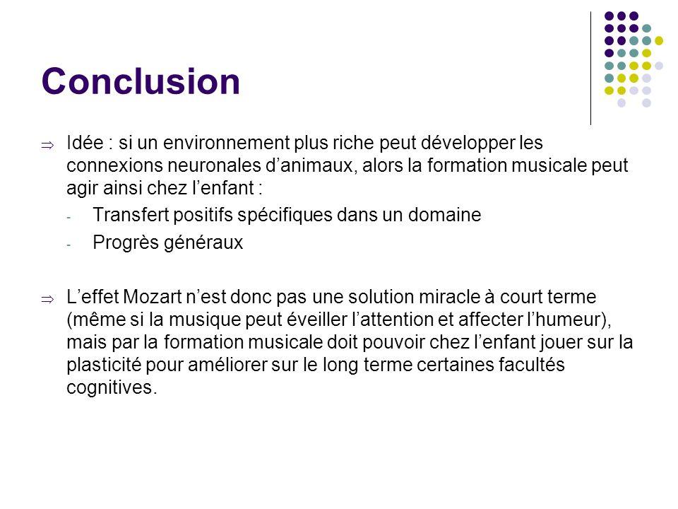 Conclusion  Idée : si un environnement plus riche peut développer les connexions neuronales d'animaux, alors la formation musicale peut agir ainsi ch