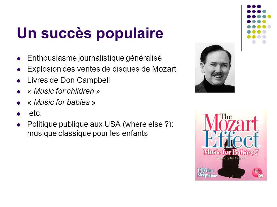 Un succès populaire Enthousiasme journalistique généralisé Explosion des ventes de disques de Mozart Livres de Don Campbell « Music for children » « M