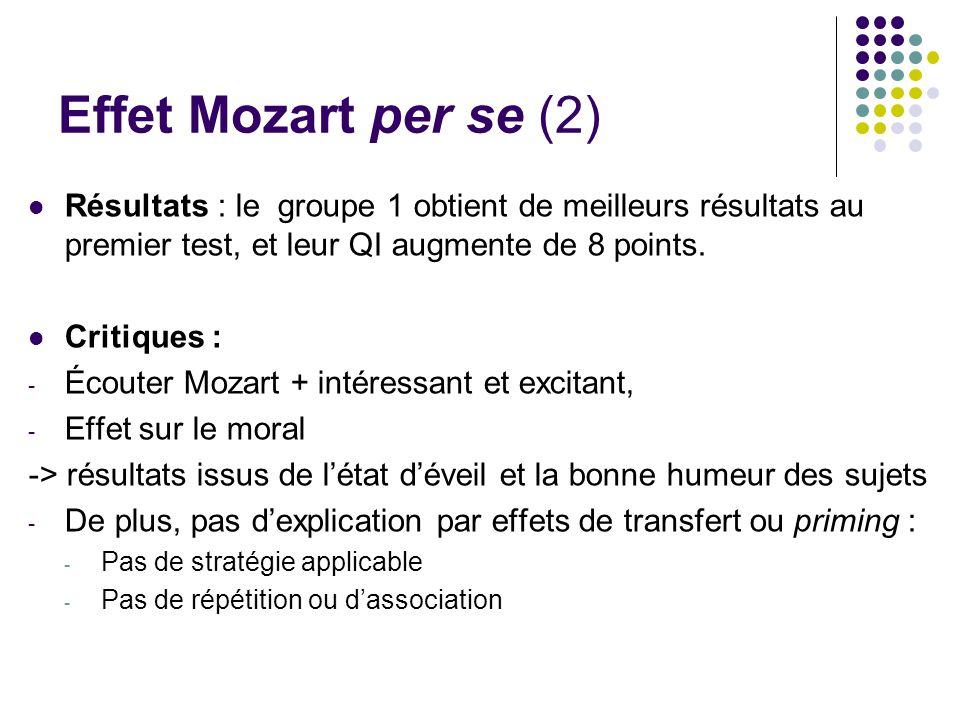 Effet Mozart per se (2) Résultats : le groupe 1 obtient de meilleurs résultats au premier test, et leur QI augmente de 8 points. Critiques : - Écouter
