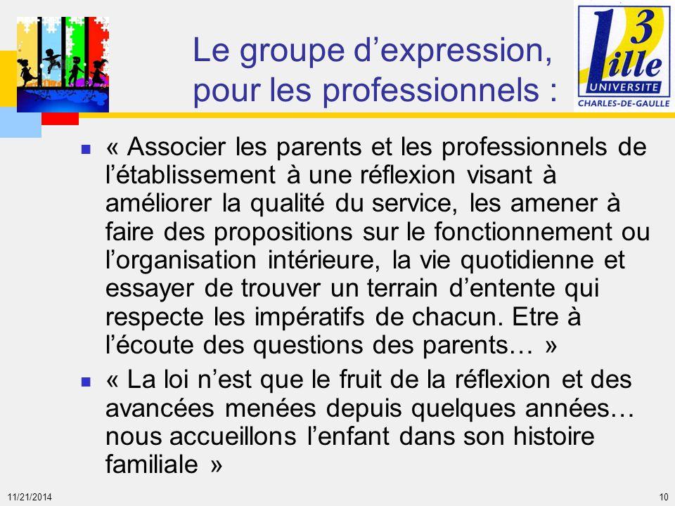 11/21/2014 10 Le groupe d'expression, pour les professionnels : « Associer les parents et les professionnels de l'établissement à une réflexion visant