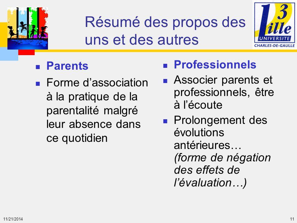 11/21/2014 11 Résumé des propos des uns et des autres Parents Forme d'association à la pratique de la parentalité malgré leur absence dans ce quotidie