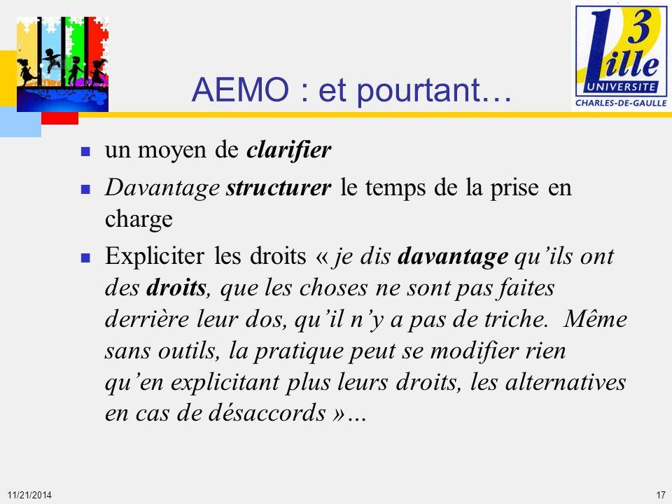 11/21/2014 17 AEMO : et pourtant… un moyen de clarifier Davantage structurer le temps de la prise en charge Expliciter les droits « je dis davantage q