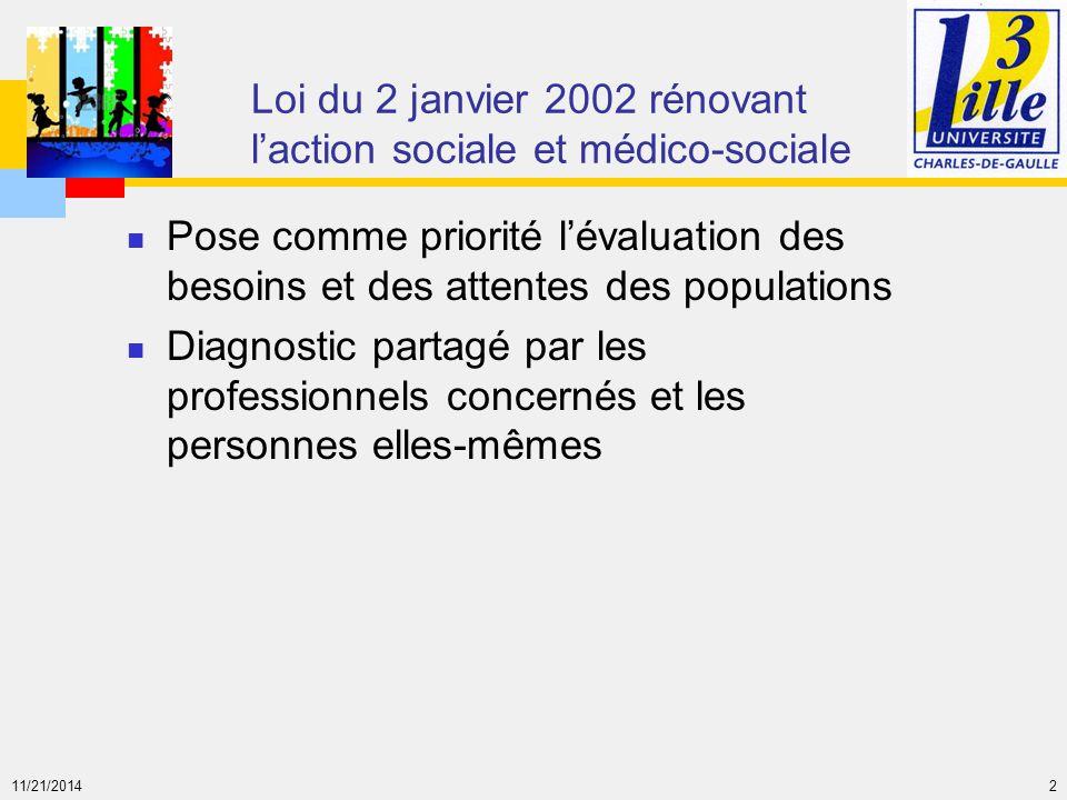 11/21/2014 2 Loi du 2 janvier 2002 rénovant l'action sociale et médico-sociale Pose comme priorité l'évaluation des besoins et des attentes des popula