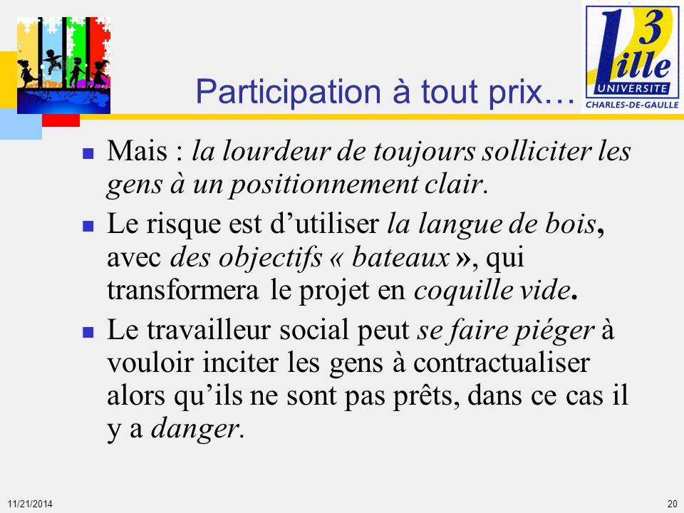11/21/2014 20 Participation à tout prix… Mais : la lourdeur de toujours solliciter les gens à un positionnement clair. Le risque est d'utiliser la lan