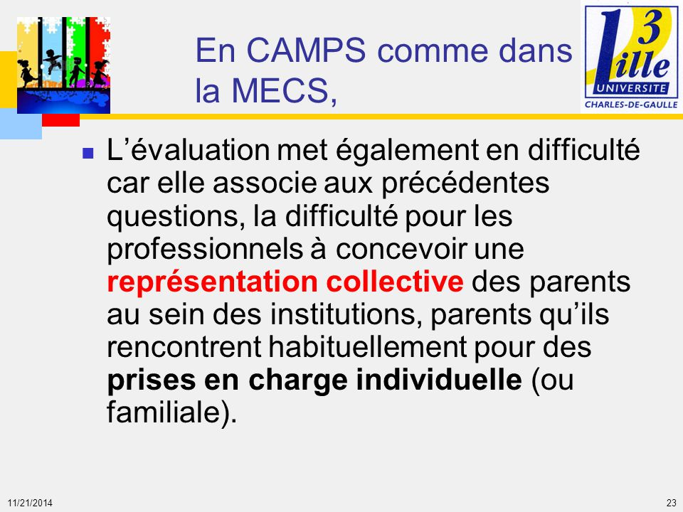 11/21/2014 23 En CAMPS comme dans la MECS, L'évaluation met également en difficulté car elle associe aux précédentes questions, la difficulté pour les