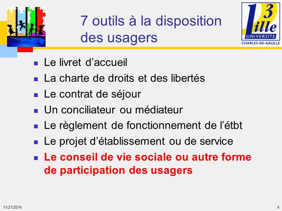 11/21/2014 4 7 outils à la disposition des usagers Le livret d'accueil La charte de droits et des libertés Le contrat de séjour Un conciliateur ou méd