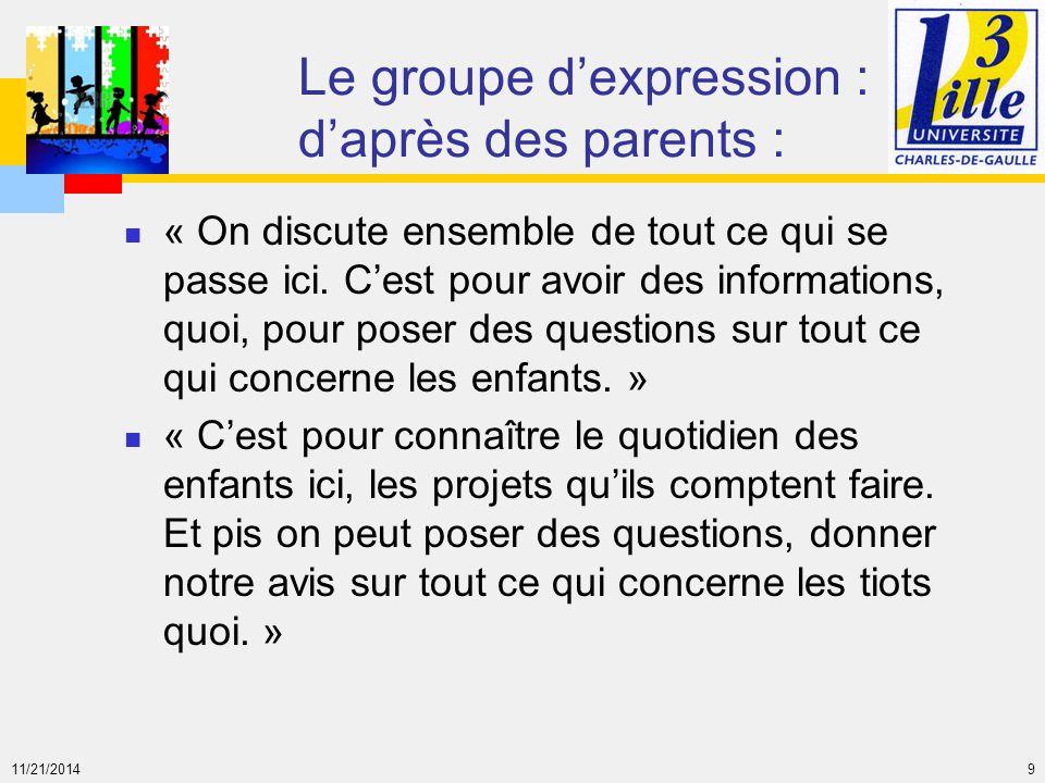 11/21/2014 9 Le groupe d'expression : d'après des parents : « On discute ensemble de tout ce qui se passe ici. C'est pour avoir des informations, quoi