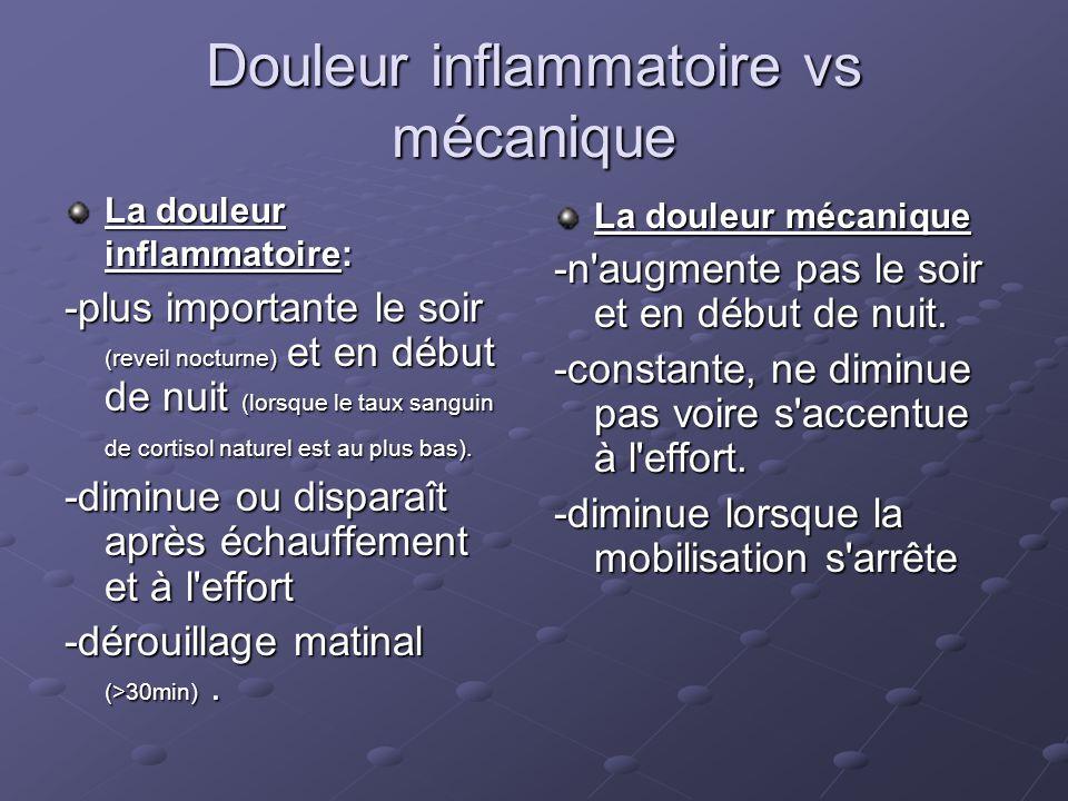 Douleur inflammatoire vs mécanique La douleur inflammatoire: -plus importante le soir (reveil nocturne) et en début de nuit (lorsque le taux sanguin d
