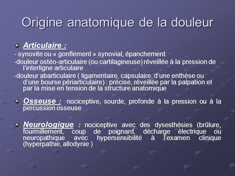 Origine anatomique de la douleur Articulaire : - synovite ou « gonflement » synovial, épanchement -douleur ostéo-articulaire (ou cartilagineuse) révei