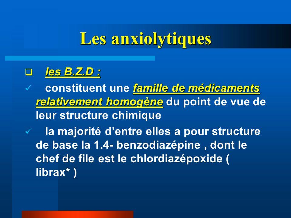 Les anxiolytiques les B.Z.D :  les B.Z.D : famille de médicaments relativement homogène constituent une famille de médicaments relativement homogène