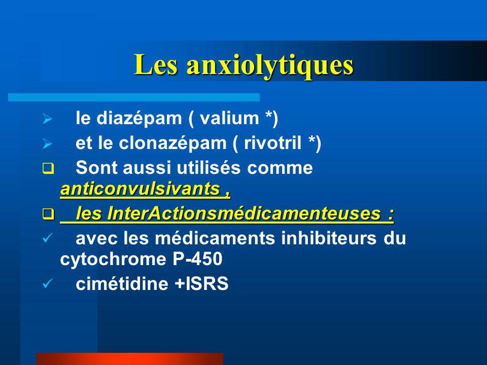 Les anxiolytiques  le diazépam ( valium *)  et le clonazépam ( rivotril *) anticonvulsivants,  Sont aussi utilisés comme anticonvulsivants,  les I