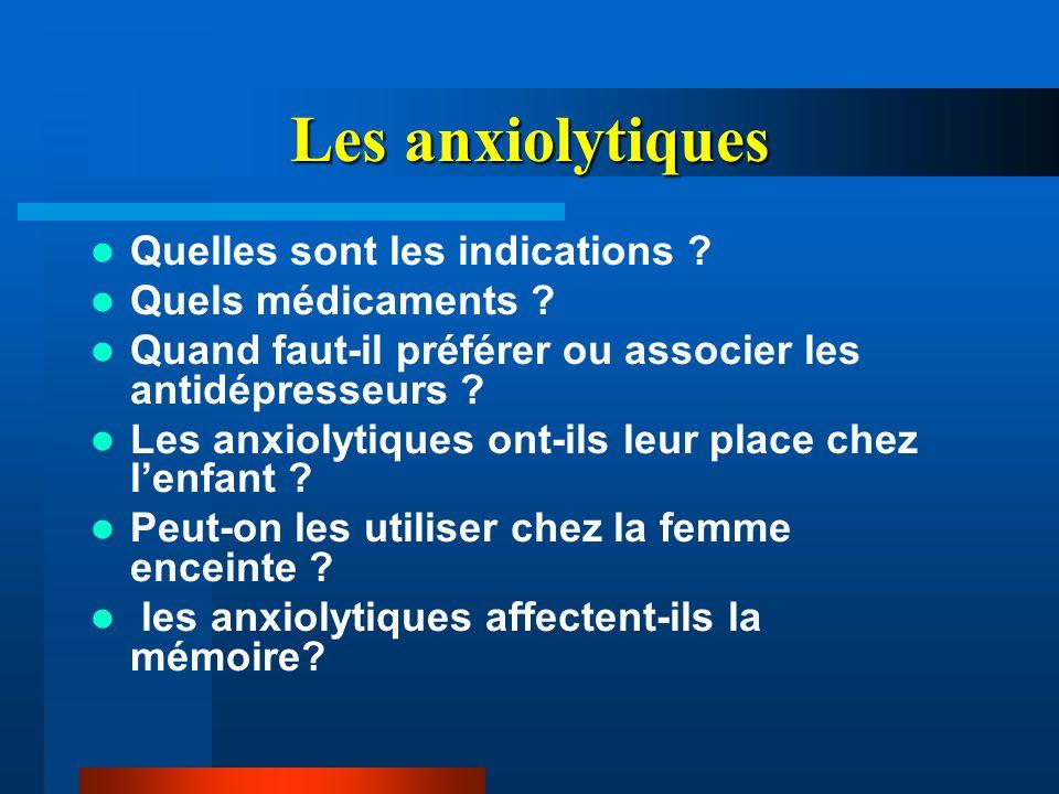 Les anxiolytiques Quelles sont les indications ? Quels médicaments ? Quand faut-il préférer ou associer les antidépresseurs ? Les anxiolytiques ont-il