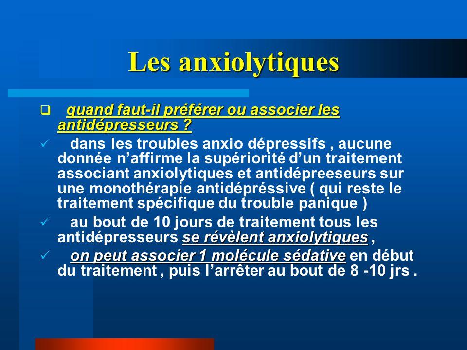 Les anxiolytiques quand faut-il préférer ou associer les antidépresseurs ?  quand faut-il préférer ou associer les antidépresseurs ? dans les trouble