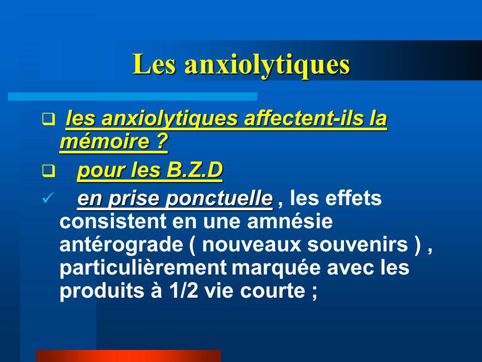 Les anxiolytiques les anxiolytiques affectent-ils la mémoire ?  les anxiolytiques affectent-ils la mémoire ? pour les B.Z.D  pour les B.Z.D en prise