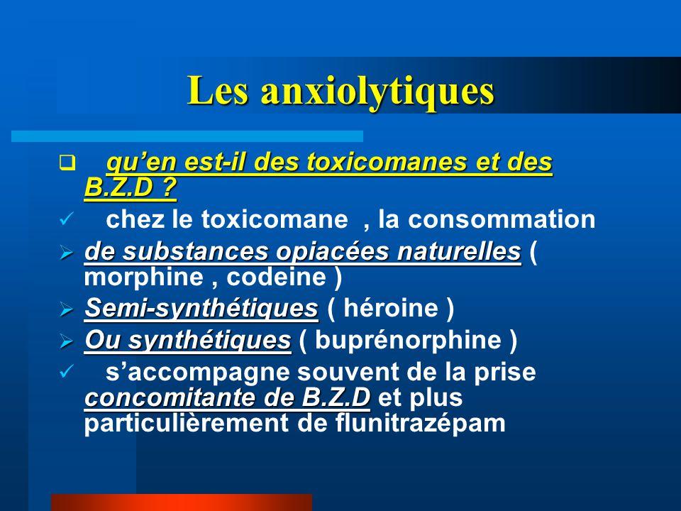 Les anxiolytiques qu'en est-il des toxicomanes et des B.Z.D ?  qu'en est-il des toxicomanes et des B.Z.D ? chez le toxicomane, la consommation  de s