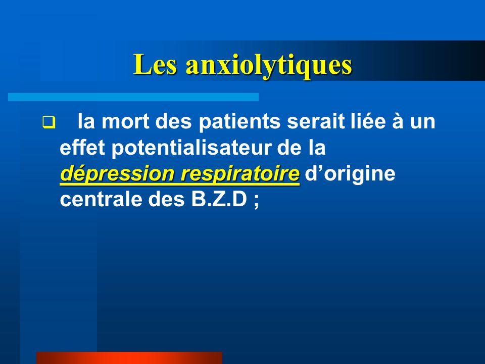 Les anxiolytiques dépression respiratoire  la mort des patients serait liée à un effet potentialisateur de la dépression respiratoire d'origine centr