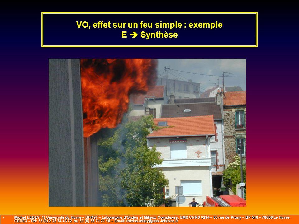 VO, effet sur un feu simple : exemple E  Synthèse Michel LEBEY: 1) Université du Havre – UFRST – Laboratoire d'Ondes et Milieux Complexes, UMR CNRS 6
