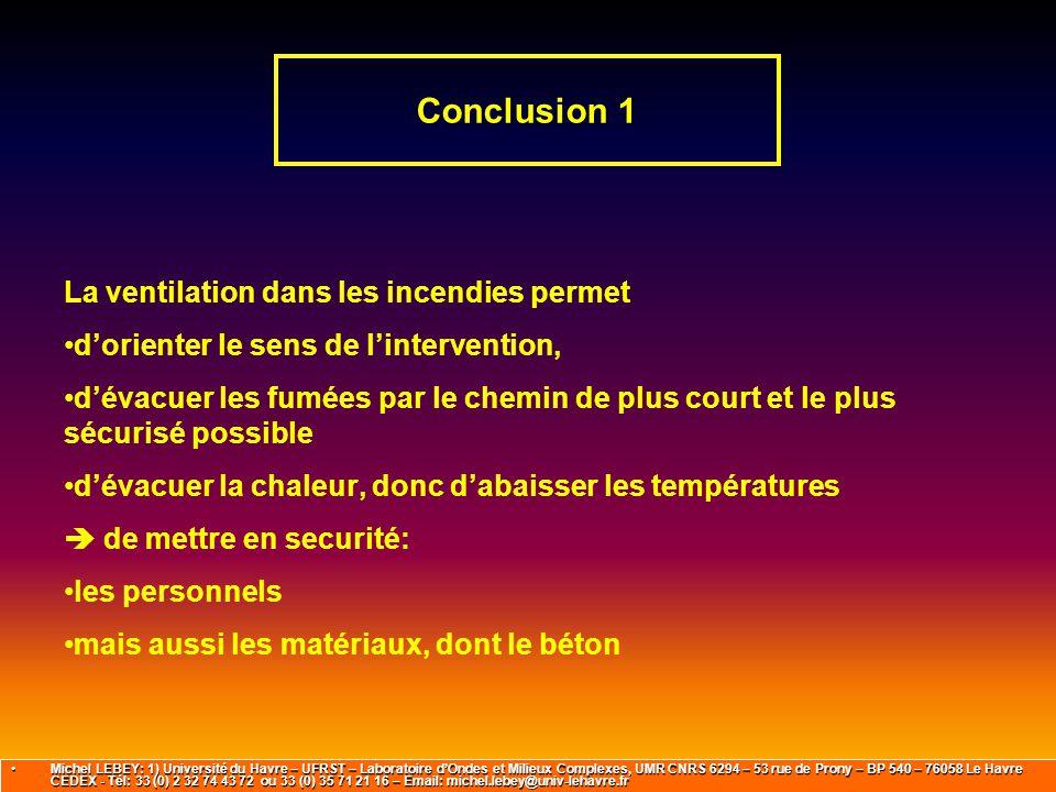 Conclusion 1 La ventilation dans les incendies permet d'orienter le sens de l'intervention, d'évacuer les fumées par le chemin de plus court et le plu