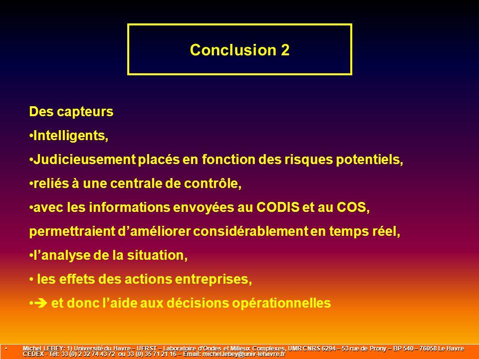 Conclusion 2 Des capteurs Intelligents, Judicieusement placés en fonction des risques potentiels, reliés à une centrale de contrôle, avec les informat
