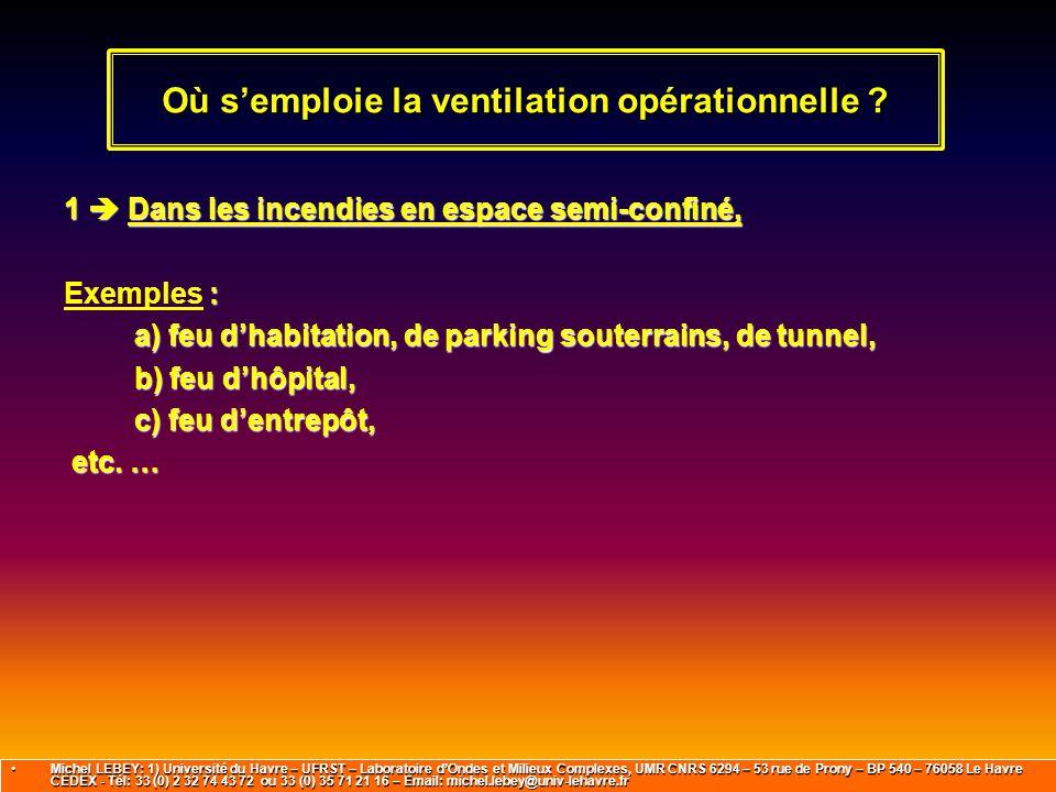1  Dans les incendies en espace semi-confiné, : Exemples : a) feu d'habitation, de parking souterrains, de tunnel, b) feu d'hôpital, c) feu d'entrepô
