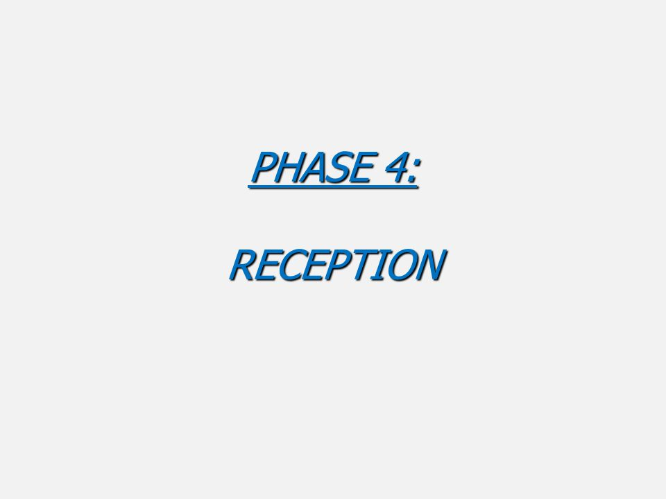 PHASE 4: RECEPTION