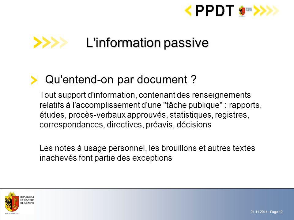 21.11.2014 - Page 12 Qu entend-on par document .